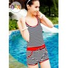 ชุดว่ายน้ำวันพีช สำหรับคนขี้อาย ชุดว่ายแบบเสื้อกล้าม กางเกงขาสั้น มีฮู้ด น่ารัก ๆ ลายขวาง เส้นขอบชุด สีแดง 7925141